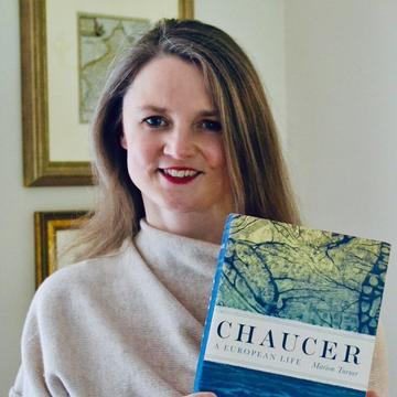 marion turner holding her book Chaucer A European Life