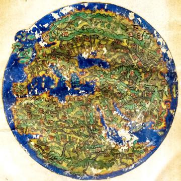 circular ancient map showing Europe