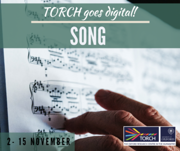 Sheet music with someone's fingertips touching it. There is text which reads 'TORCH goes digital! Song, 2 - 15 November' and the TORCH logo