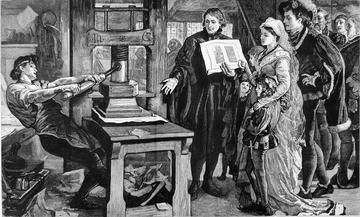 Engraving depicting William Caxton showing specimens of his printing to King Edward IV and his Queen.