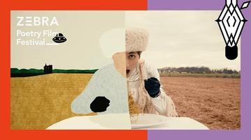 painting on left half continuing scenery in photo on right half of a girl in a field eating at a table in a field
