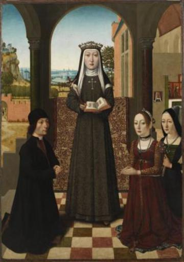 catherine of bologna 1413 1463 with three patrons master of the baroncelli low countries 1470 80 image