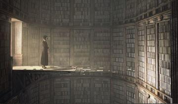 Woman with back to well lit doorway looking into dark room full of books on shelves