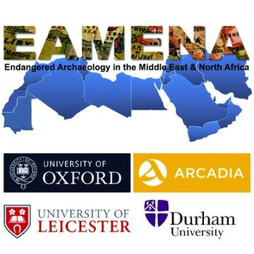 EAMENA logo on a blue map of the Middle East and North Africa. The acronym stands for Endangered Archaeology in the Middle East and North Africa. The logos of four partners are also included: Universities of Oxford; Leicester; and Durham and ARCADIA Fund