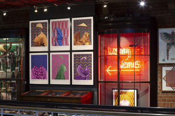 Colourful display showing neon red lights, with 6 prints of indigenous clothing