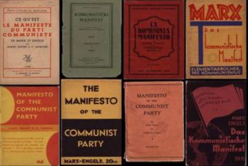collection of different Marx 'The Manifesto' covers
