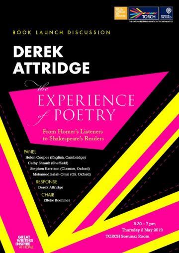 Derek Attridge Book Launch Poster