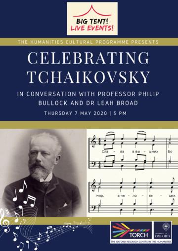 """""""Celebrating Tchaikovsky"""" on blue background"""