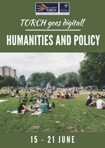 Humanities and Policy Poster, green background, people sitting on grass