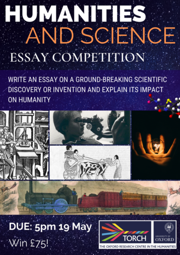 Galaxy background with various photographs of scientific discoveries - Printing Press, Lightbulb, Steam Engine. Text reads: write an essay on a groundbreaking scientific discovery or invention and explain its impact on hmanity. Due 5pm 19 May, Win £75!