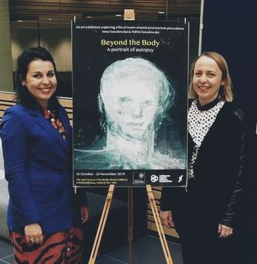 Artist Anna Suwalowska and social scientist Halina Suwalowska at the Big Data Institute in 2019