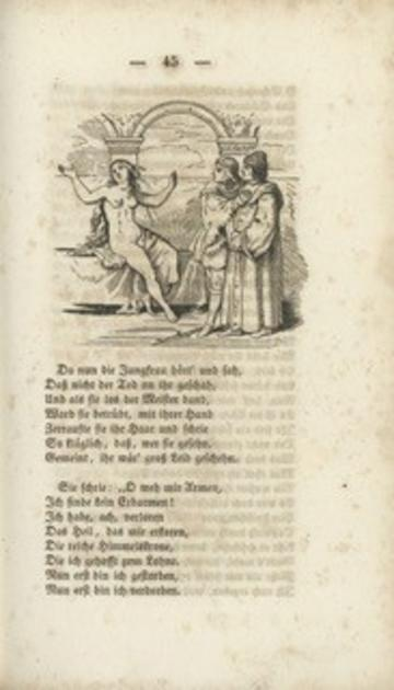 Nineteenth-century woodcut showing a long-haired naked female figure with arms raised, looking away from the two clothed men who are looking at her. German verse underneath.