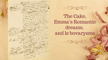 Blog poster, including page of old-fashioned handwriting and flower decoration