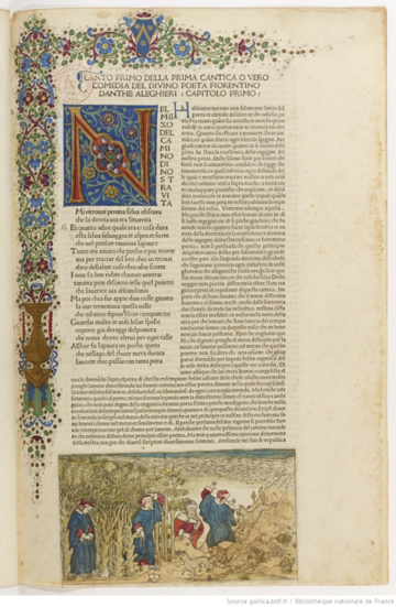 manuscript of opening of inferno, colourful decoration surrounds the text