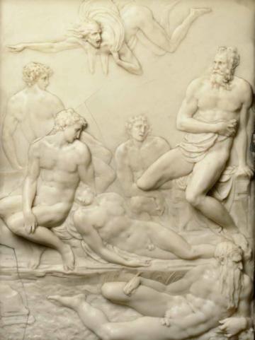 pierino da vinci after, made from wax, ornate frame around image