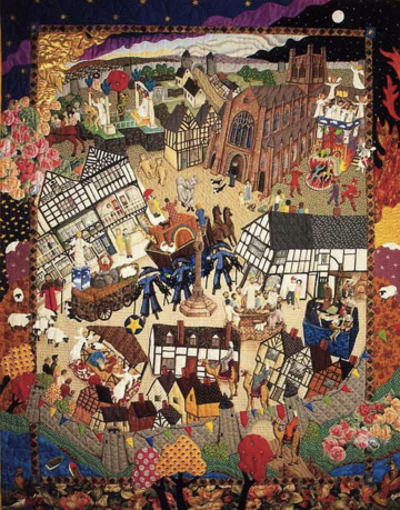 Quilt of the Chester Myster Plays showing colourful depiction of town centre in warm tones, edwardian style buildings.