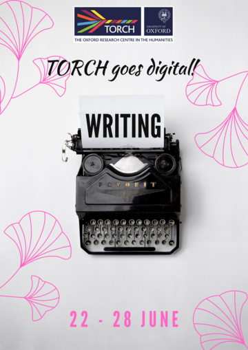 Writing Poster, pink flowers, text reads TORCH Goes Digital, Writing, with image of black typewriter