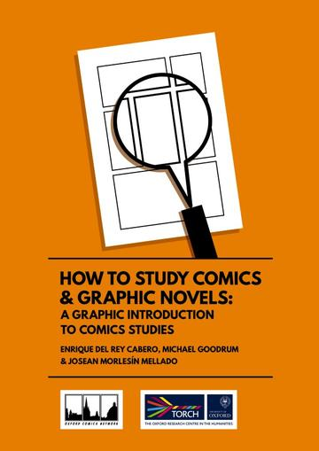 Orange background with styalised comic book page with magnifying glass
