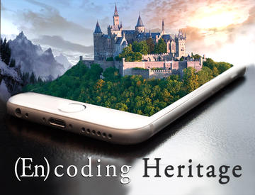Iphone with 3D castle coming out of screen, mountain view background
