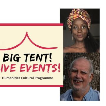 The Big Tent Live Events logo is on the left of the image, with photos of the two speakers to the right.