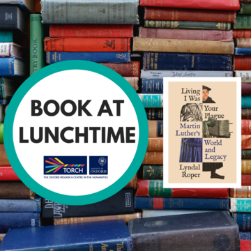 Background of colourful old book spines, overlaid with a white circle containing the words 'Book at Lunchtime' on the left, to the right, the cover of 'Living I Was Your Plague'