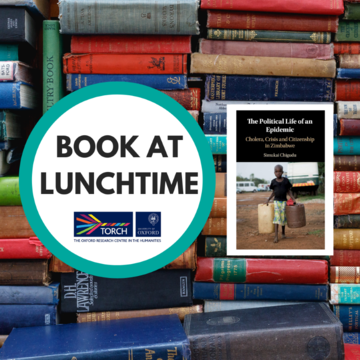 Background of colourful old book spines, overlaid with a white circle containing the words 'Book at Lunchtime' and to the right, the cover of The Political Life of an Epidemic.