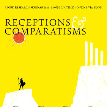 APGRD Receptions and comparatisms. Yellow background with a greek statue looking up towards a temple