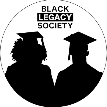 A silhouette of 2 students stood side by side.