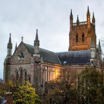 Image of Worcester Cathedral at dusk.