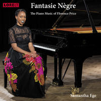 Image of Samantha Ede sat at the piano, text reads Fantasie Negre