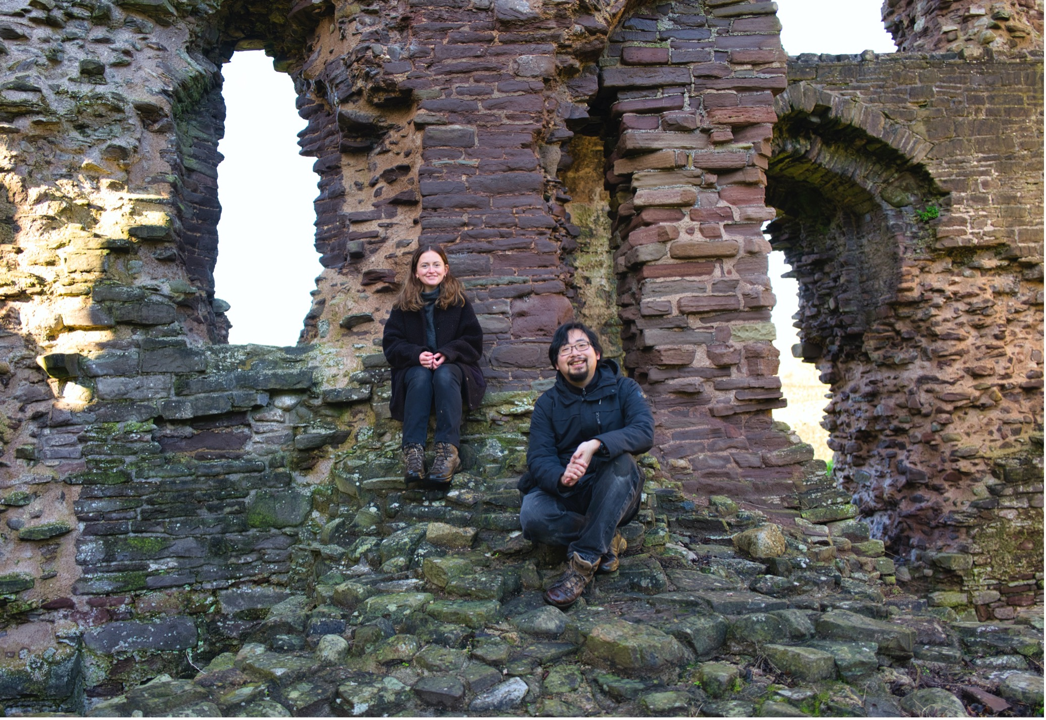 Image of the authors, smiling and sat slightly apart at the base of one of the ruined towers at Abergavenny Castle in the winter, 2020.
