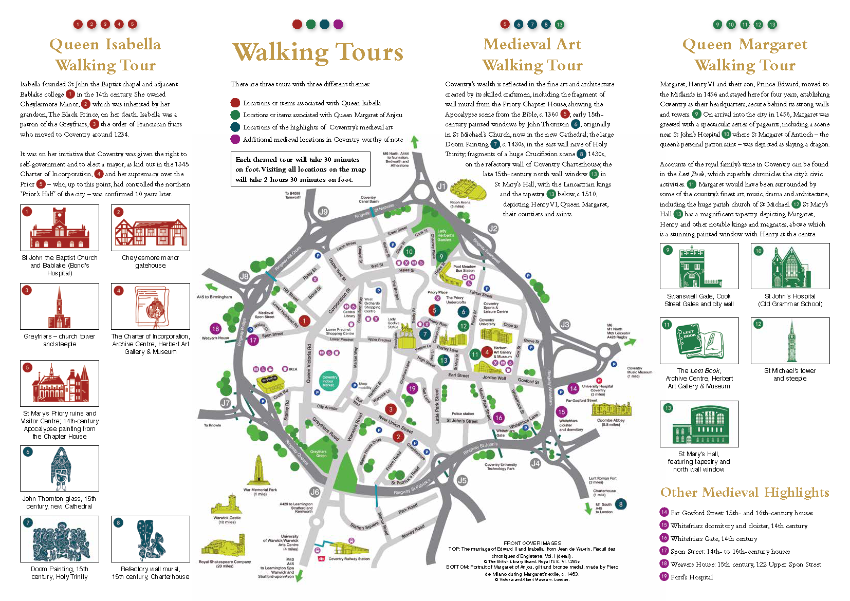 The second page of the Guide of the Royal Women of Influence Walking Tours, depicting miniatures of the landmarks that are associated with the two queens and their location on a map of medieval Coventry.